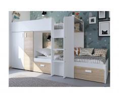 Letto a castello JULIEN - 2x90x190 cm - Armadio integrato - Bianco e quercia