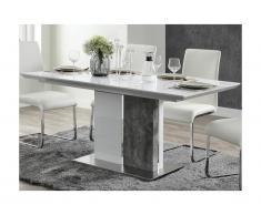 Tavolo da pranzo allungabile da 6 a 8 coperti MDF Bianco e calcestruzzo - EREN