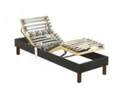 Rete relax con doghe e sospensioni in tessuto grigio antracite di DREAMEA - 70 x 190 cm
