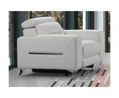 Poltrona relax elettrica in pelle Bianco - PAULY