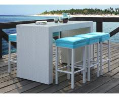 Bar e 6 sgabelli da giardino SALINA in resina intrecciata bianca seduta turchese