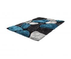 Tappeto shaggy PIETRA turchese e grigio - poliestere - 160x230 cm