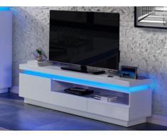 Mobile TV EMERSON - 1 porte e 2 cassetti - MDF laccato bianco - LED