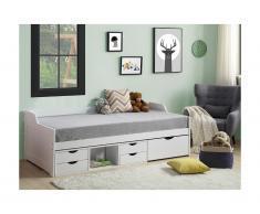 Divanetto letto con vani portaoggetti 90 x 190 cm in Abete Bianco - ADELISE