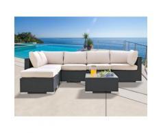 Salotto di giardino ALANDA in resina intrecciata: divano 5 posti, 1 pouf e un tavolino - antracite