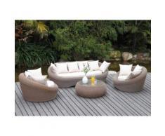 Salotto da giardino WHITEHEAVEN caramello 3+1+1+tavolino