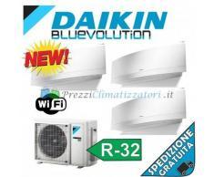 Daikin Condizionatore 2 x FTXJ20MW FTXJ50MW 3MXM52M Trial Split Emura Bianco Gas R-32 Bluevolution 7+7+18 WiFi Integrato