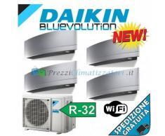 Daikin Condizionatore 2 x FTXJ20MS 2 x FTXJ50MS 4MXM80M Quadri Split Emura Argento Bluevolution 7+7+18+18 WiFi Integrato