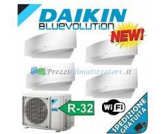 Daikin Condizionatore 2 x FTXJ20MW 2 x FTXJ35MW 4MXM80M Quadri Split Emura Bianco Bluevolution 7+7+12+12 WiFi Integrato