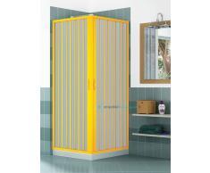 Box Doccia Angolare Porta Scorrevole 95x95 Cm 2 Lati Con 2 Ante Apertura Angolare Colore Giallo/yellow Mod. B1a Linea Lux Serie Pvc