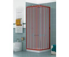 Box Doccia Angolare Porta Scorrevole 80x70 Cm 2 Lati Con Anta Unica Apertura Laterale Colore Rosso/red Mod. B1l Cromo Linea Lux Serie Pvc