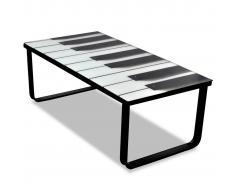 vidaXL Tavolino per Caffè Vetro con Stampa Pianoforte