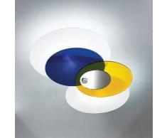 Linea Light - Hula Hoop illuminazione moderna, vetri regolabili - Blu/Giallo specchio