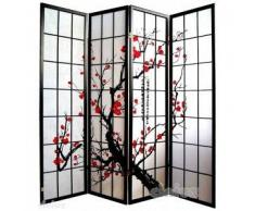 Separè - paravento modello quadri + decorazione rami ciliegio - nero