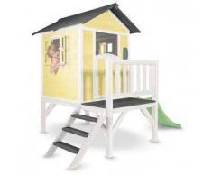 Casetta per Bambini in Legno di Cedro Lodge XL Gialla e Bianca con Scivolo e Veranda di SUNNY