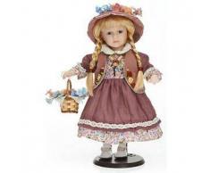 Bambola da Collezione in Porcellana con Vestito Lilla e Cestino in Vimini con Fiori RF Collection Qualità Made in Germany