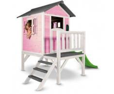 Casetta per Bambini in Legno di Cedro Lodge XL Rosa e Bianca con Scivolo e Veranda di SUNNY