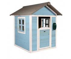 Casetta per Bambini in Legno di Cedro Lodge Blu e Bianca di SUNNY