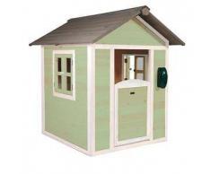 Casetta per Bambini in Legno di Cedro Lodge Verde e Bianca di SUNNY