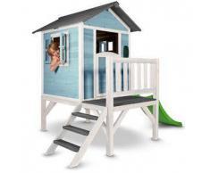Casetta per Bambini in Legno di Cedro Lodge XL Azzurra e Bianca con Scivolo e Veranda di SUNNY