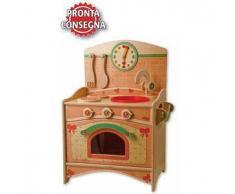Trio Cucina (Lavello, Fornelli, Forno) in Legno Naturale per Bambini di Dida