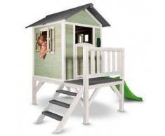 Casetta per Bambini in Legno di Cedro Lodge XL Verde e Bianca con Scivolo e Veranda di SUNNY