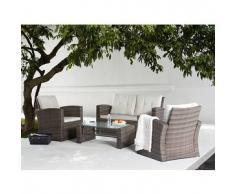 beliani Set in rattan da giardino - Lounge da esterno con tavolo poltrona e divano in rattan - LUCA