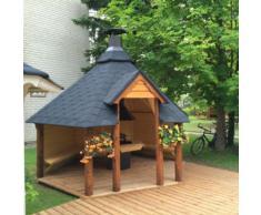 Gazebo da giardino esagonale aperto con barbecue a legna optional
