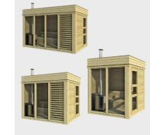 Sauna finlandese da esterno SAUNACUBE in abete fino a 10 persone