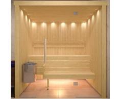 Sauna finlandese in hemlock canadese con parete in vetro