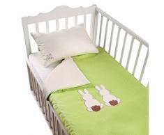 Tots by Smart Rike 280 – 203 – Set biancheria letto Joy, 100% raso di costruzione, copripiumino 100 x 135 cm e 1 federa 60 x 40 cm, Rabbit verde