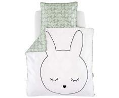 Träumeland TT18103 - Biancheria da letto con coniglietto, 80 x 80 + 35 x 40 cm, multicolore