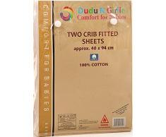 Dudu N Girlie cotone jersey culla letto lenzuola con angoli, 40 cm x 90 cm, pezzi, colore: Crema/rosa