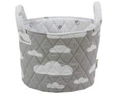 Minene - Cestino portaoggetti, motivo: nuvole, piccolo, 18 x 22 cm, colore: Grigio
