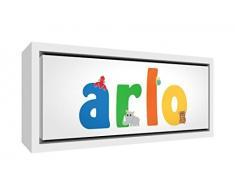 Little Helper LHV-ARLO-3084-FCWHT-15IT Stampa su Tela Incorniciata Legno Bianco, Disegno Personalizzabile con Nome da Ragazzi Arlo, Multicolore, 34 x 88 x 3 cm