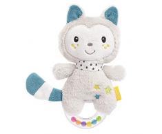 Fehn 057140 - Anello sonaglio a forma di gatto, per sonagli, sonagli, suonare, giocare, con morbido peluche - un fedele compagno per neonati e bambini dai 0 mesi in su, multicolore