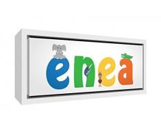 Little Helper LHV-ENEA-3084-FCWHT-15IT Stampa su Tela Incorniciata Legno Bianco, Disegno Personalizzabile con Nome da Ragazzi Enea, Multicolore, 34 x 88 x 3 cm