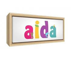 Little Helper LHV-AIDA-1542-FCNAT-15IT Stampa su Tela Incorniciata Legno Naturale, Disegno Personalizzabile con Nome da Ragazza Aida, Multicolore, 19 x 46 x 3 cm