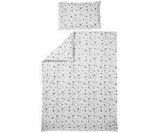 Meyco 425055 - Biancheria da letto per bambini, motivo a pois, 40 x 60 e 120 x 150 cm, colore: Bianco/Nero
