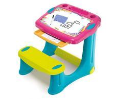 Smoby 420219 - Scrivania per bambini Magic Pink, con sedile integrato e cassetto in plastica, dai 2 anni in su, colore: Rosa