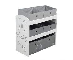 Roba Miffy - Scaffale per giocattoli con 5 scatole di stoffa per bambini, ideale per la cameretta dei bambini, per bambini e bambine