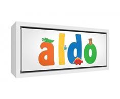 Little Helper LHV-ALDO-3084-FCWHT-15IT Stampa su Tela Incorniciata Legno Bianco, Disegno Personalizzabile con Nome da Ragazzi Aldo, Multicolore, 34 x 88 x 3 cm