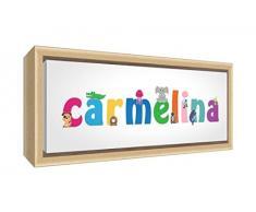 Little Helper LHV-CARMELINA-2159-FCNAT-15IT Stampa su Tela Incorniciata Legno Naturale, Disegno Personalizzabile con Nome da Ragazza Carmelina, Multicolore, 25 x 63 x 3 cm