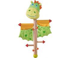 HABA 303037 - Appendiabiti a forma di drago, per bambine e ragazzi, altezza 70 cm, supporto in legno, tessuto e metallo, con 2 tasche portaoggetti, una vera attrazione nella cameretta dei bambini