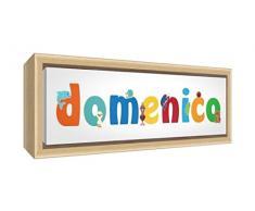 Little Helper LHV-DOMENICO-3084-FCNAT-15IT Stampa su Tela Incorniciata Legno Naturale, Disegno Personalizzabile con Nome da Ragazzi Domenico, Multicolore, 34 x 88 x 3 cm