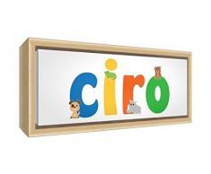 Little Helper LHV-CIRO-3084-FCNAT-15IT Stampa su Tela Incorniciata Legno Naturale, Disegno Personalizzabile con Nome da Ragazzi Ciro, Multicolore, 34 x 88 x 3 cm