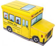 Bieco Scatola plastica con coperchio imbottito scuolabus per bambini   Portagiochi bambini con scompartimento & coperchio   Cesta pieghevole gialla   46 L Portagiochi Pieghevole   04000506