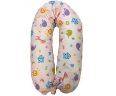 Merrymama- Cuscino allattamento e gravidanza + fodera con lacci/cm 190 (imbottito in microgranuli di polistirene ignifugo), Zoo Sfondo Rosa