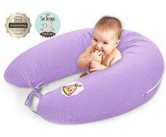 Sei Design - Cuscino per allattamento, 170 x 30 cm Imbottitura: palline di fibra 3D prive di sostanze nocive certificate Ökotex. Fodera con cerniera e ricamo di alta qualità. Ideale per viaggiare lilla