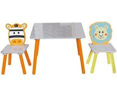 Bieco 74004809 - seggiolino per bambini con tavolo e due sedie, movente Safari